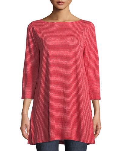 24e7f5b04ed Eileen Fisher Mini-Stripe Organic Linen Jersey Tunic Tee, Plus Size In  Strawberry
