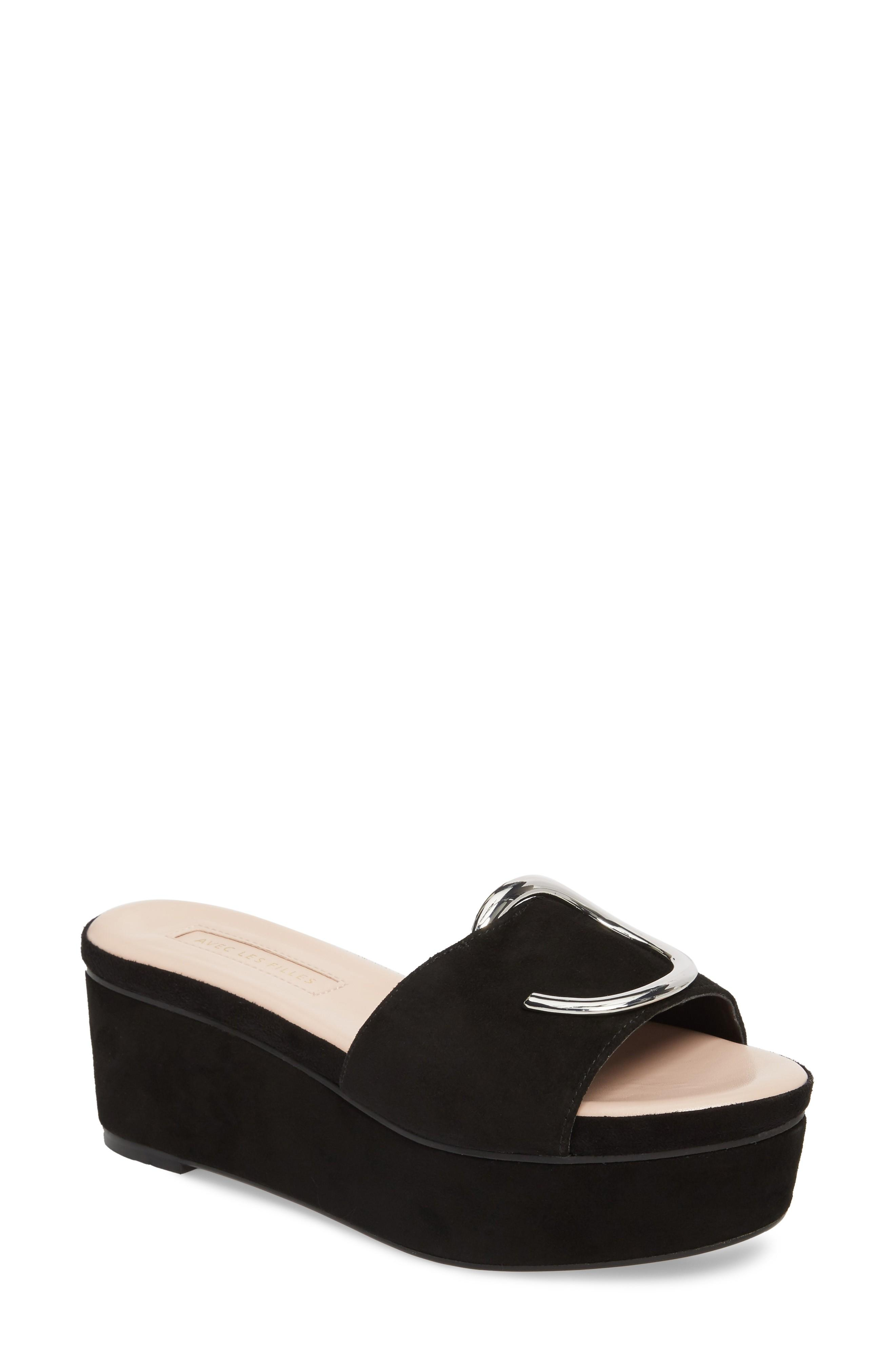 da20a0b5022a Avec Les Filles Addison Platform Slide Sandal In Black Suede