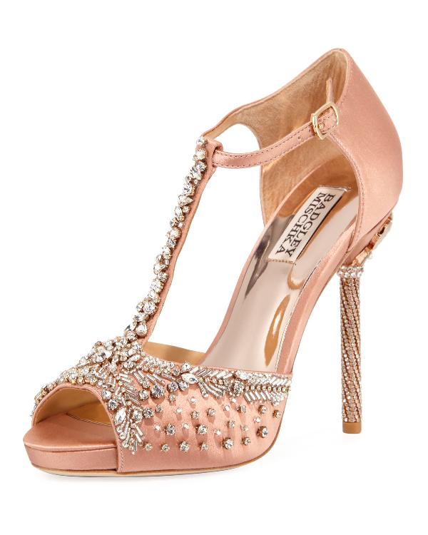 Badgley Mischka Stacey Crystal Embellished T-Strap Sandal In Pink