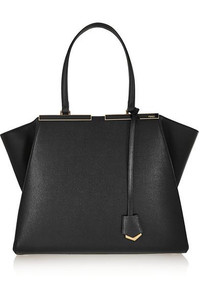 Fendi Trois-Jour Mini Shopping Tote Bag, Black/White