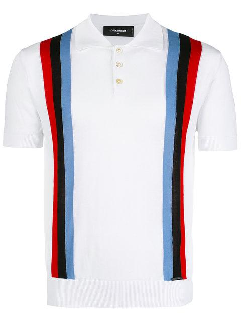 0ead7404 Dsquared2 Striped Knit Polo Shirt In Black | ModeSens
