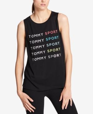 Tommy Hilfiger Sport Graphic Muscle Tank Top, Created For Macy's In Black/Psycho Red