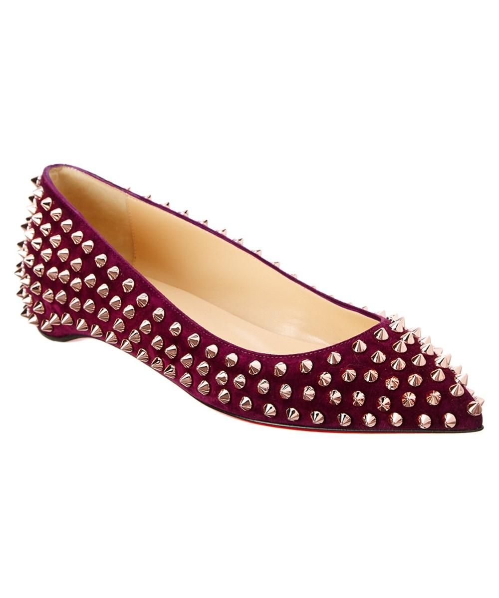 timeless design b651e fedea Christian Louboutin Follies Spikes Suede Ballerina Flat in Merlot