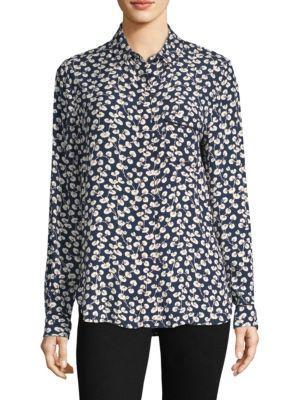 03ff29a6 Ganni Roseburg Printed Crepe De Chine Shirt In Total Eclipse | ModeSens