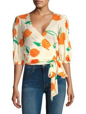 be3afc46 Ganni Tilden Floral Print Mesh Wrap Top In Vanilla | ModeSens