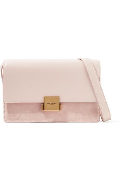c6970b165 Saint Laurent Bellechasse Medium Textured-Leather And Suede Shoulder Bag In  Pink
