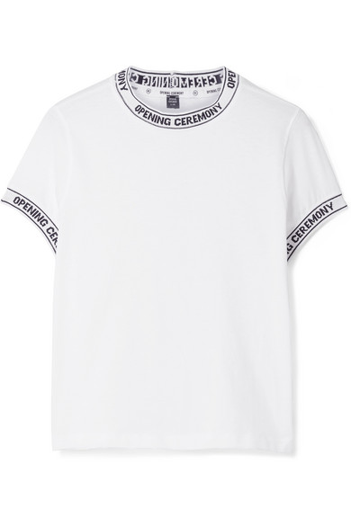 Opening Ceremony Torch Ribbed Knit-trimmed Cotton-jersey T-shirt In White