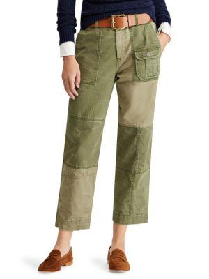 Polo Ralph Lauren Patchwork Straight-Leg Pants In Olive Multi