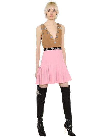 Fausto Puglisi Sleeveless Embellished Wool Crepe Dress, Camel/pink