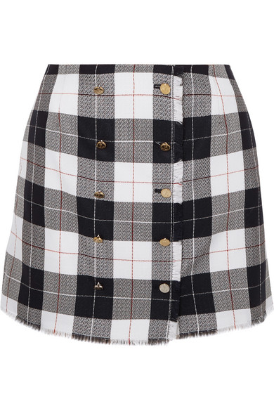 899e8bc7d93 Thom Browne Checked Wool-Blend Mini Skirt In Navy | ModeSens