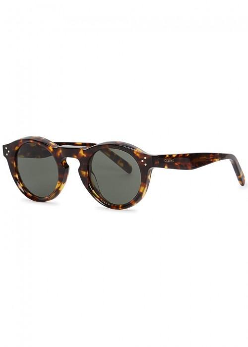 993255d824ee Celine Bevel Tortoiseshell Round-Frame Sunglasses In Light Tortoise ...