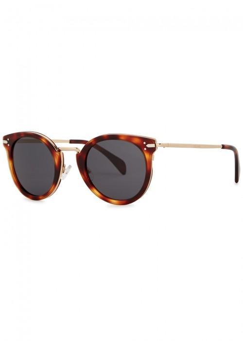 54f243dc65 Celine Lea Tortoiseshell Round-Frame Sunglasses In Havana