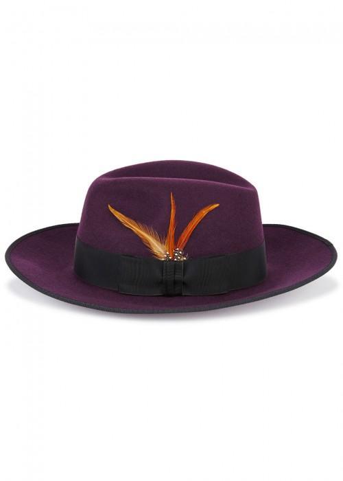 687abb16de4f6 Christys  London Madison Plum Wool Fedora In Purple