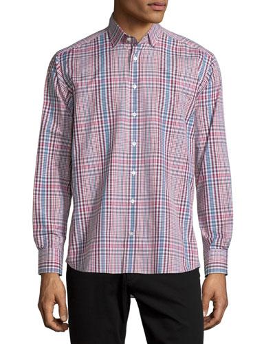 Etro Plaid Long-sleeve Sport Shirt, Burgundy/white/blue In Multi