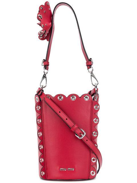 65cdce5258b Miu Miu Embellished Leather Bucket Bag In Red