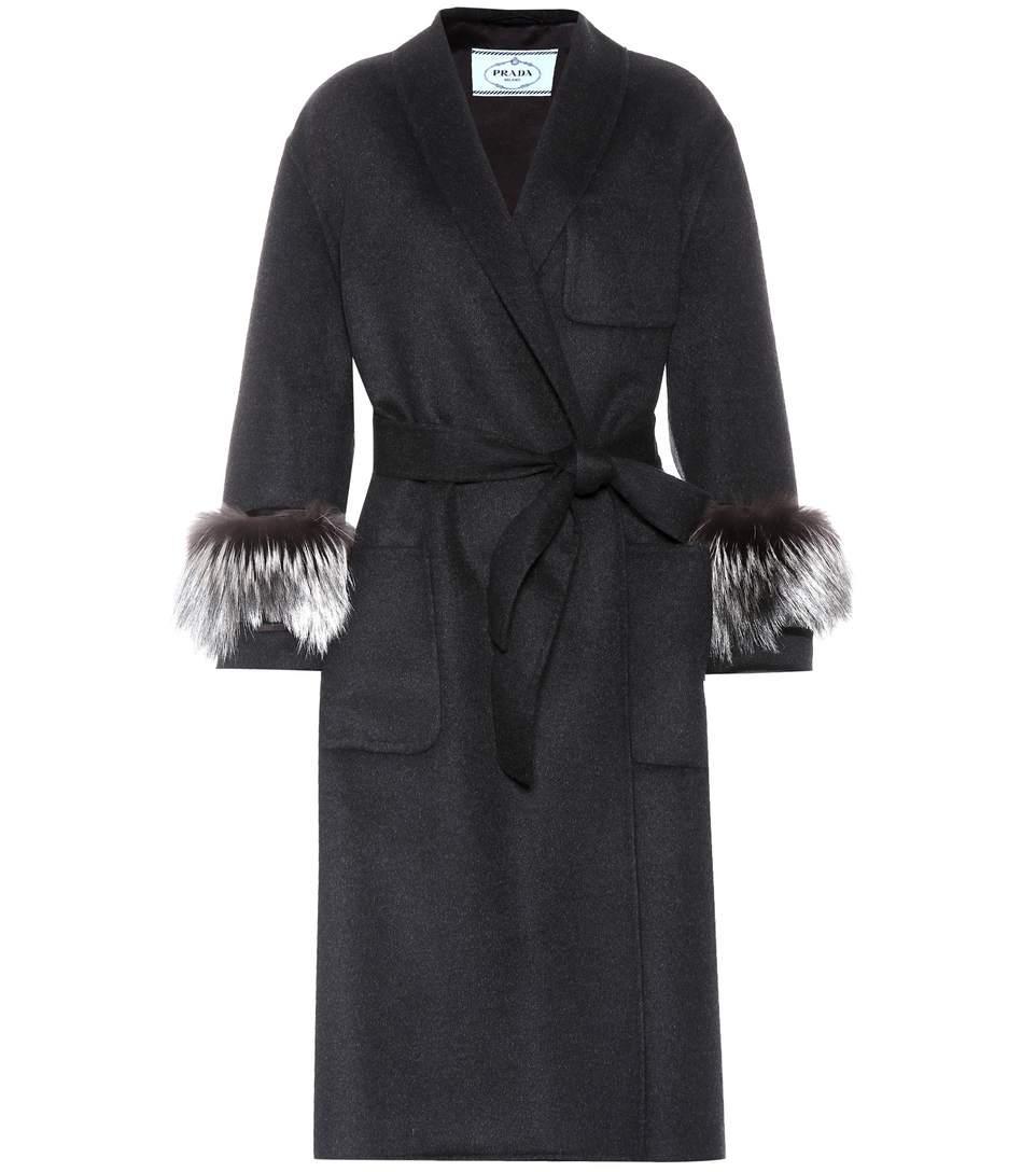 Prada Fur-Trimmed Wool And Angora Coat In Black