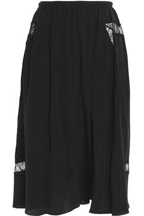 Rochas Woman Lace-Trimmed Silk Midi Skirt Black