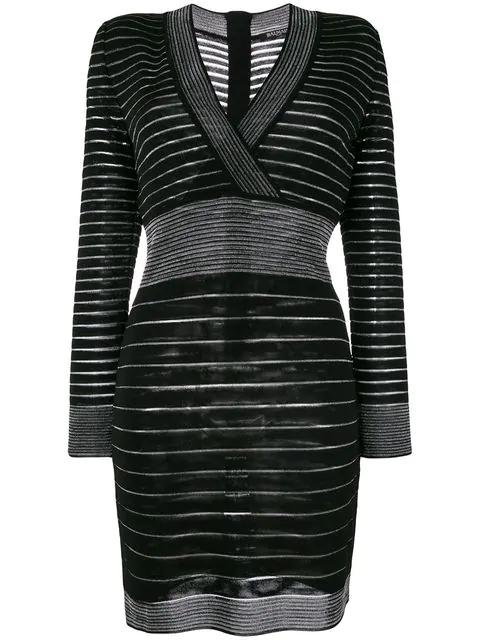 c201b7916e61 Balmain Long-Sleeve Deep V-Neck Striped Knit Cocktail Dress In Black ...