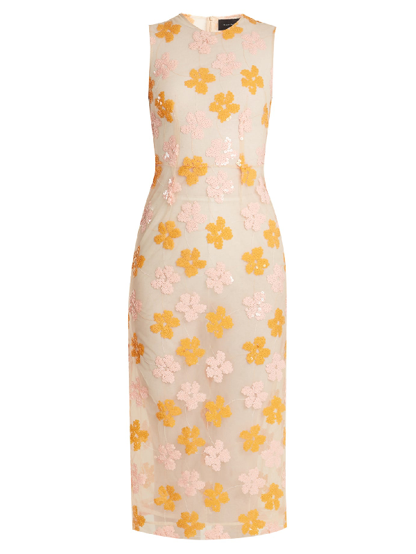 Simone Rocha Floral-Sequined Midi Dress, Pink/Orange In Pink & Purple