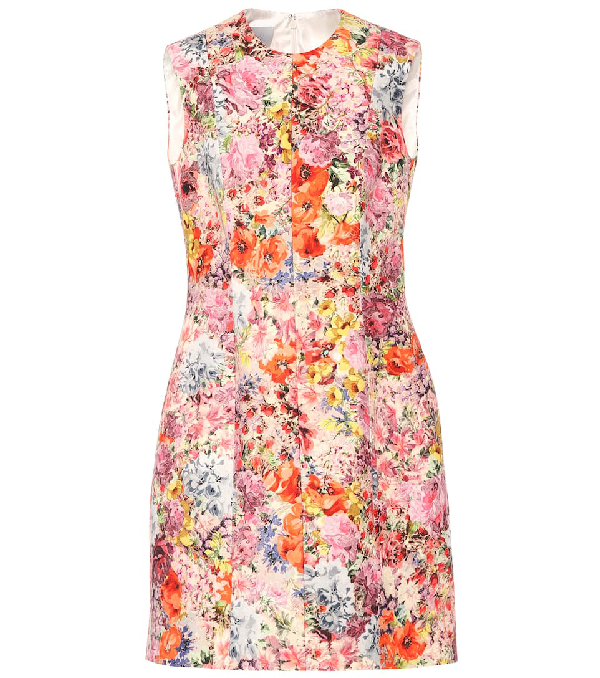 Valentino Floral-Print Wool And Silk-Blend Crepe Mini Dress In Pink