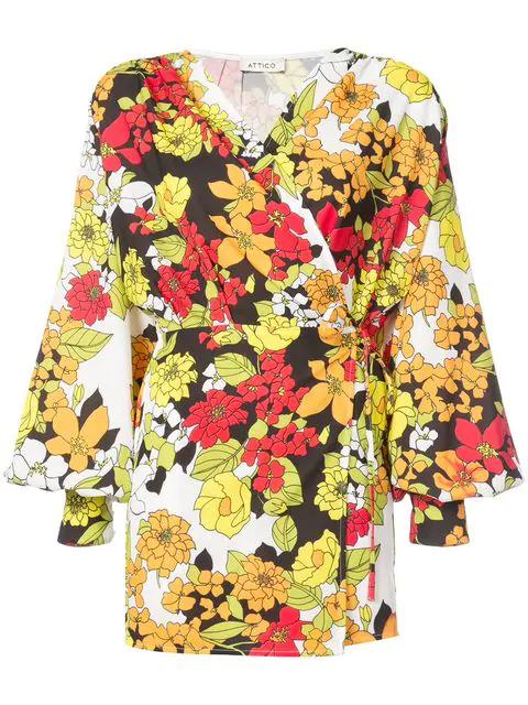 d2c944b6 Attico Floral-Print Cady Crepe Robe Wrap Dress In Yellow | ModeSens