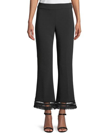Lela Rose Sam Flared Crepe Pants With Fringe-Hem In Black