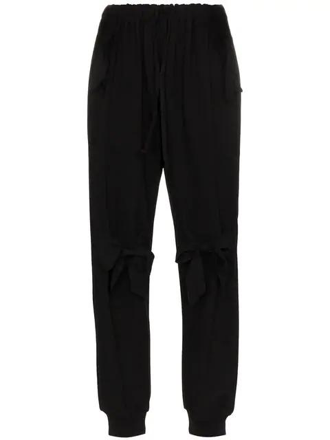 Simone Rocha Ruffled Stretch-Jersey Track Pants In Black