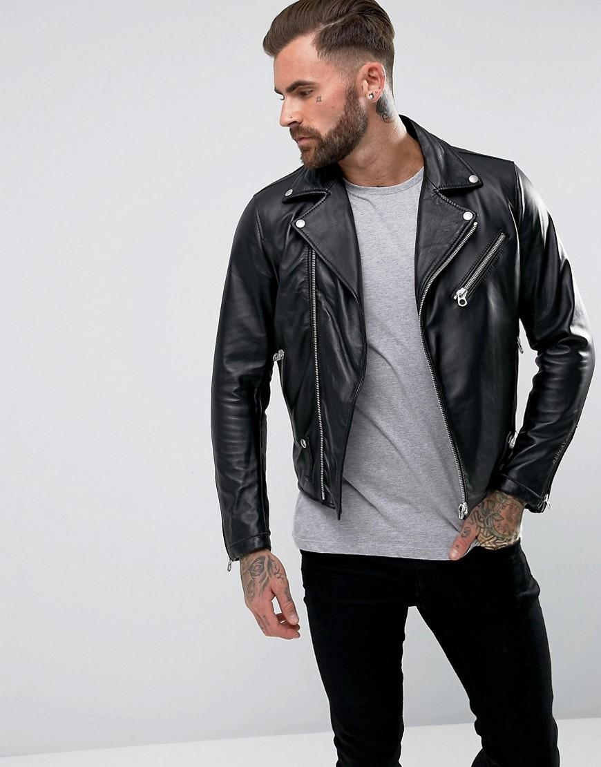 34148c3f3 Leather Biker Jacket Zip Detail - Black