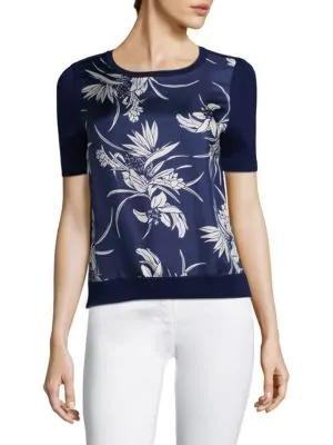Escada Short-Sleeve Floral-Print Silk Front & Knit Back Pullover Top In Indigo