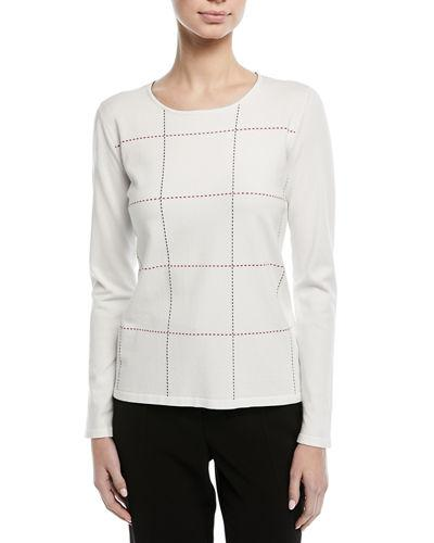 Escada Crewneck Long-Sleeve Grid-Stitch Pullover Top In Off White