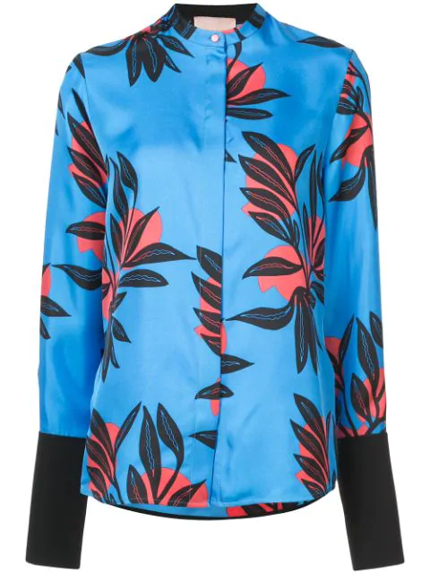 Roksanda Floral-Print Button-Front Silk Blouse In Azure