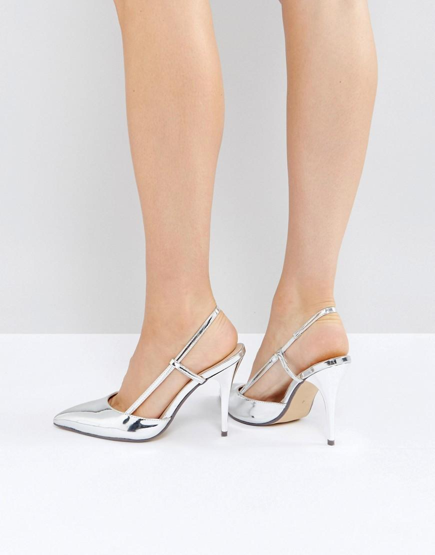 Silver Metallic Slingback Point Heeled Shoes Silver