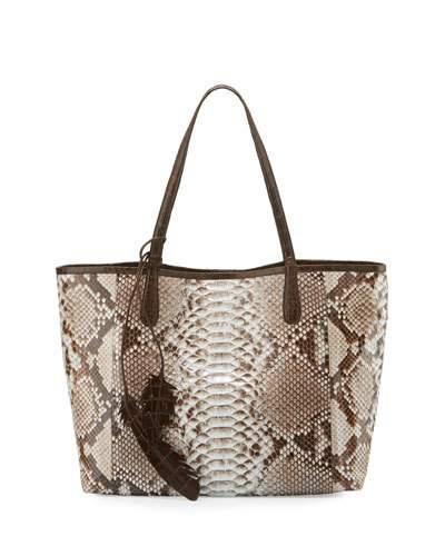 Nancy Gonzalez Erica Python Shopper Tote Bag, Natural/chocolate In Natural Chocolate