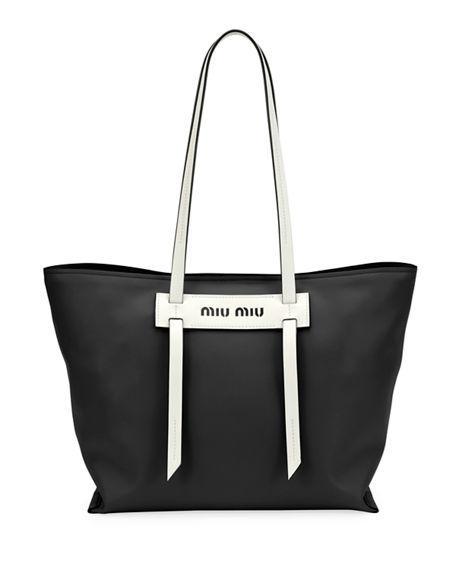 db8e4841e201 Miu Miu Patch Small Grace Lux Tote Bag In Black White