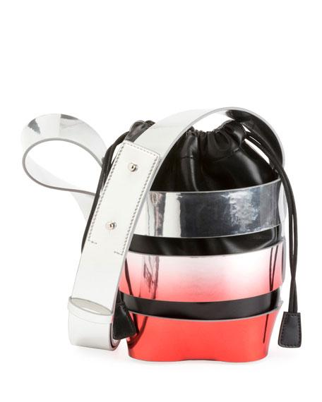 4f3c44d8fb0e Paco Rabanne Mini Cage Degrade Faux Leather Bucket Bag - Metallic In Silver   Red