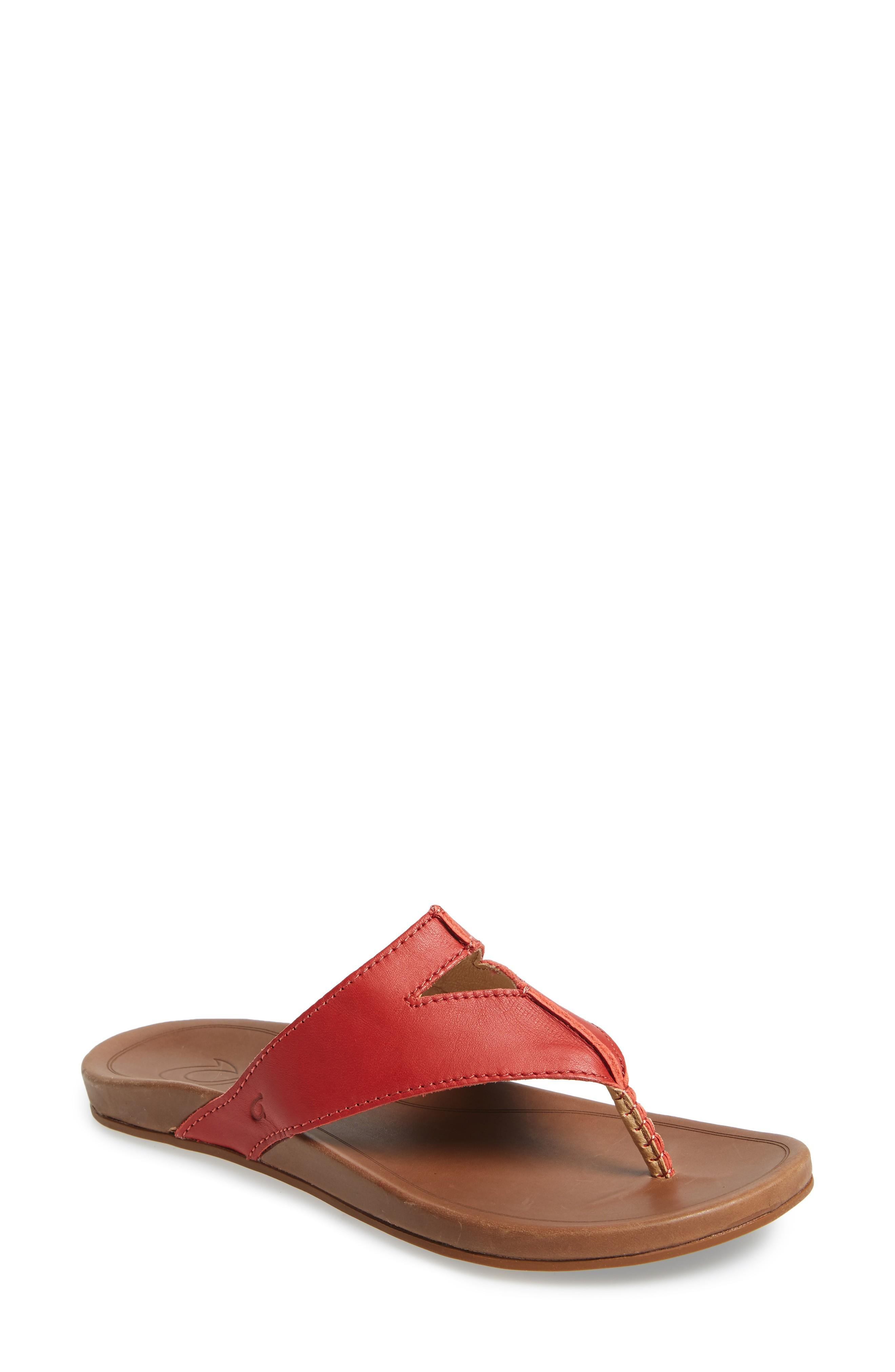 de833b25e19 Olukai Lala Flip Flop In Paprika  Tan Leather