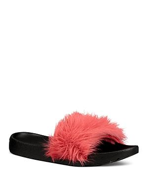 a5d225f4585 Royale Shearling Pool Slide Sandals in Ribbon Red Suede