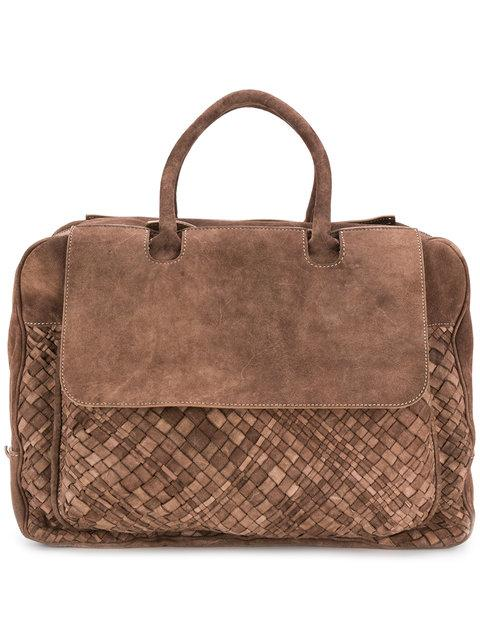 Eleventy Suede Duffel Bag - Brown