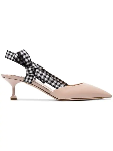 a5e3a4da6b Miu Miu Leather Slingback Pumps In Neutrals | ModeSens