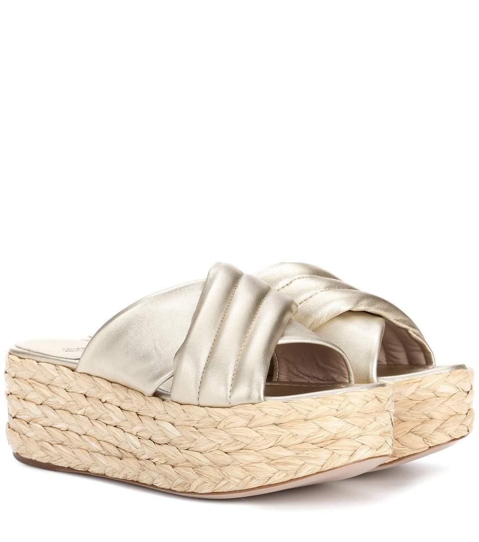 3f91d28a83f0 Stuart Weitzman Pufftopraffia Leather Platform Sandals In Gold ...