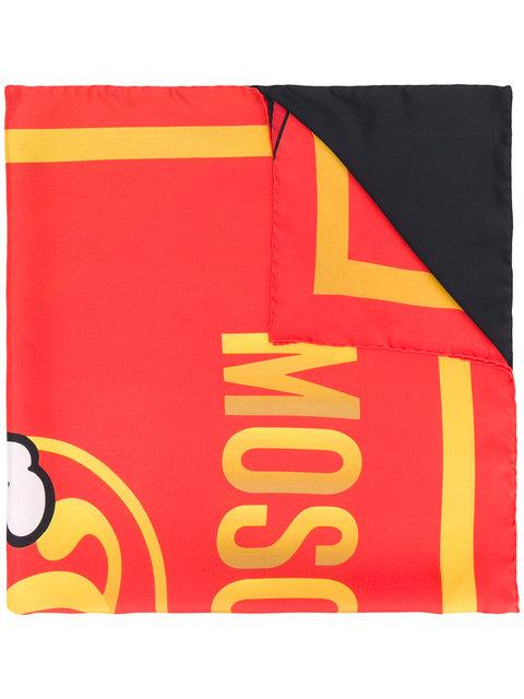 Moschino Logo Printed Silk Scarf In Red