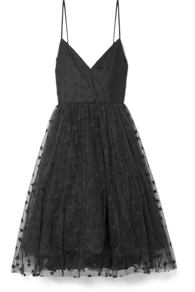 J.Crew Embroidered Tulle Midi Dress In Black