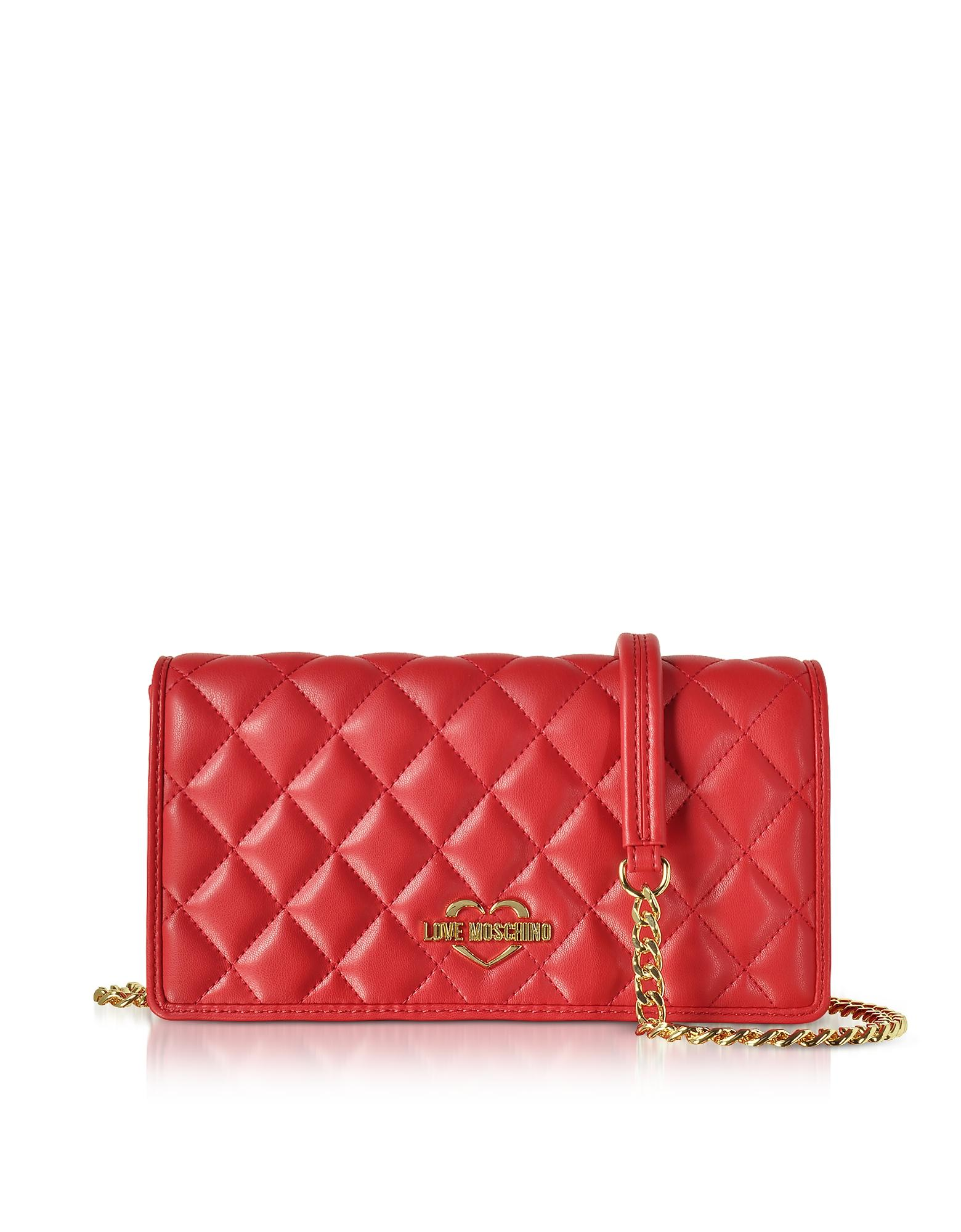 b73692d00a Love Moschino Red Superquilted Eco-Leather Clutch W/Shoulder Strap ...