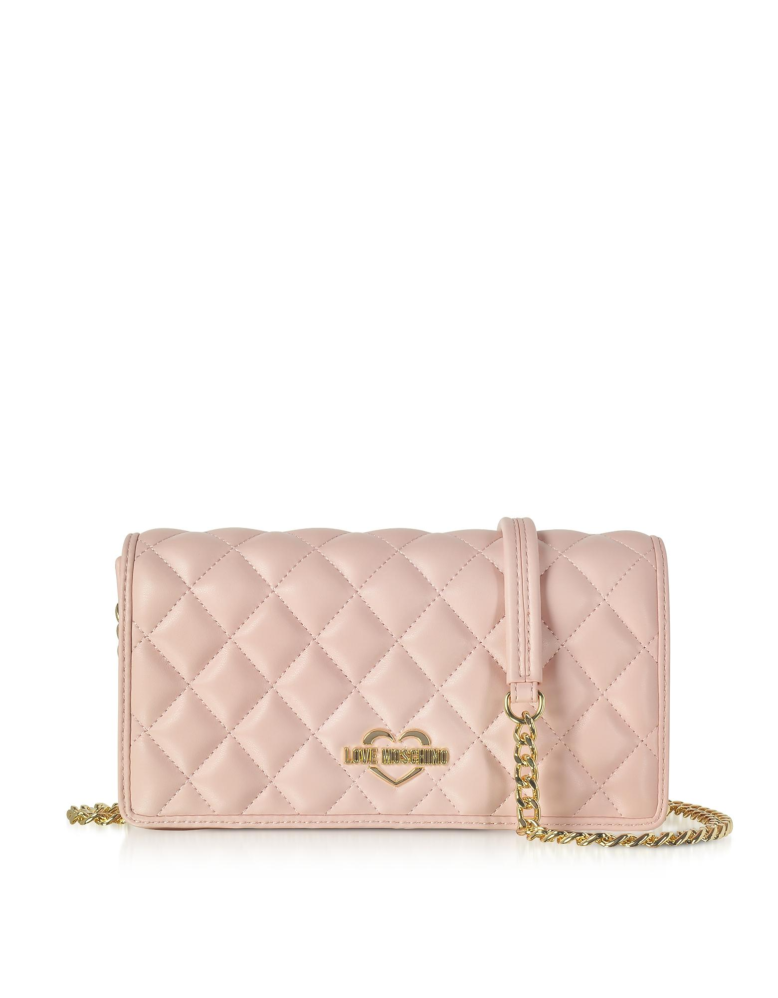 dae380ba29 Love Moschino Pink Superquilted Eco-Leather Clutch W/Shoulder Strap ...