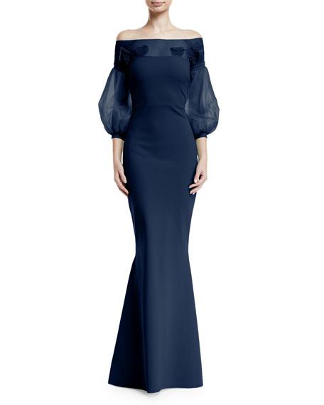 7e421f839a1 Chiara Boni La Petite Robe Moyer Illusion Balloon-Sleeve Gown In ...