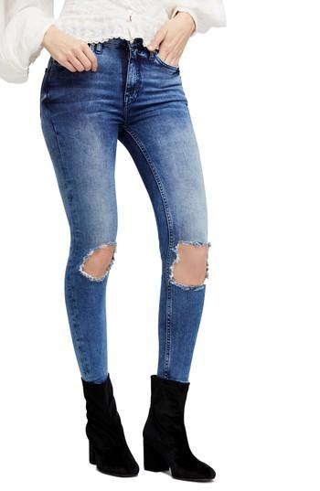 58ff96486 Free People High Rise Busted Knee Skinny Jeans In Turquoise | ModeSens