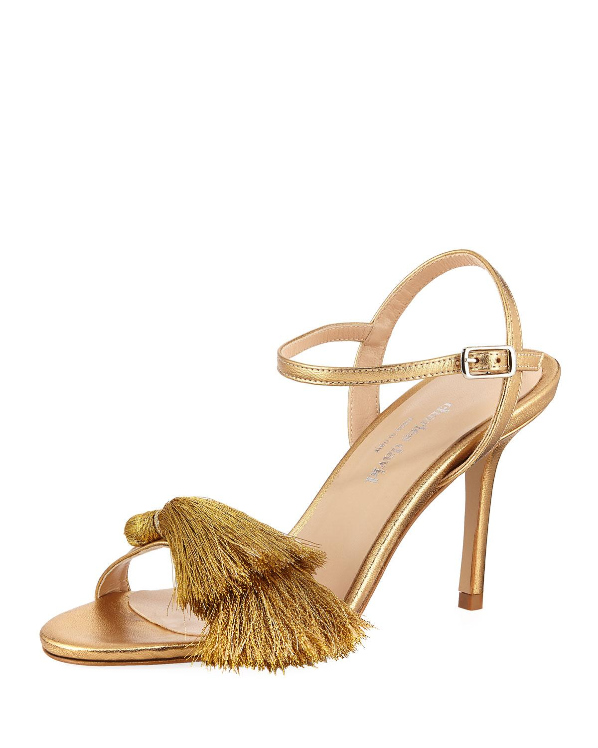 55b944bc1 Charles David Sassy Dress Sandal With Tassel In Gold Metallic