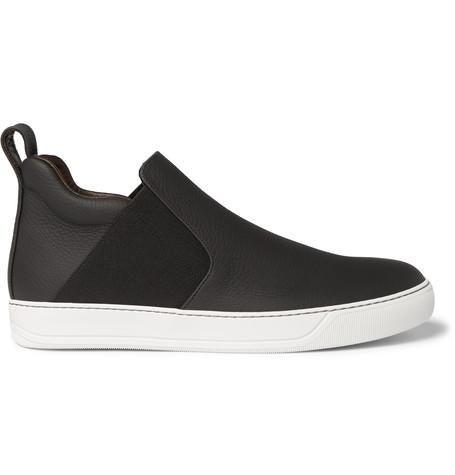 Lanvin Full-grain Leather High-top Sneakers In Black