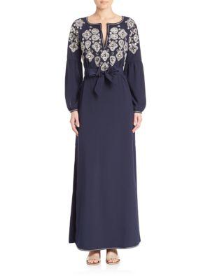 Tory Burch 'lisette' Embellished Kaftan Dress In Tory Navy