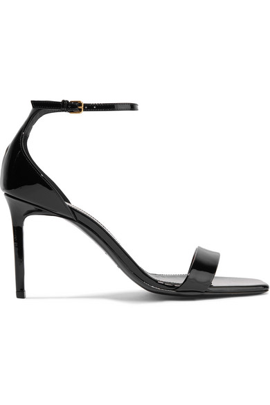 3a612fc78b9 Saint Laurent Hall Platform Sandals In Patent Leather In Black ...